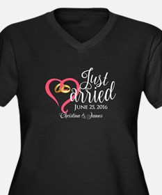 Just Married Women's Plus Size V-Neck Dark T-Shirt