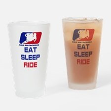 eat sleep ride Drinking Glass