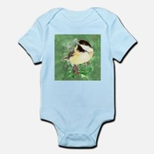 Cute Watercolor Chickadee Holly Berry Ch Body Suit
