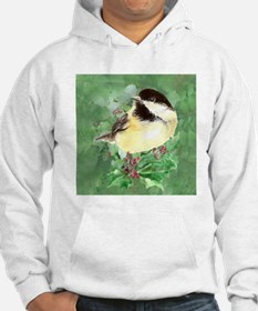 Cute Watercolor Chickadee Holly Hoodie