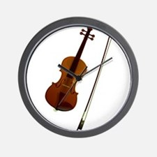 Brown violin music art Wall Clock