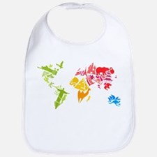 World famous buildings animal colored silhouet Bib