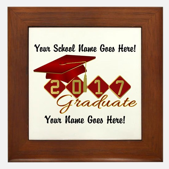 Graduate Red 2017 Framed Tile