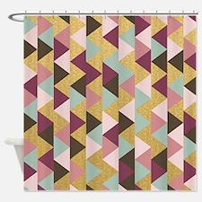 Cute Brown%2c pink%2c green Shower Curtain