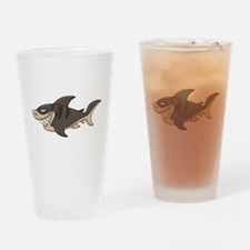 Cartoon angry fish Drinking Glass