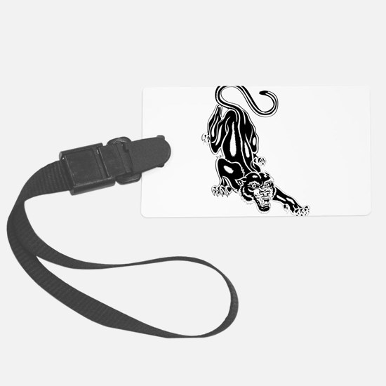 Panther roaring silhouette Luggage Tag