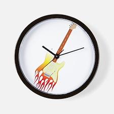 Flame strat guitar Wall Clock