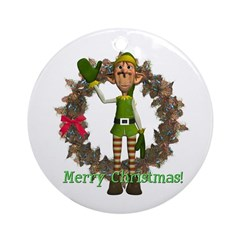 Elf Ornament (Round)