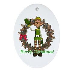 Elf Oval Ornament