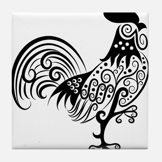 Hand drawn rooster decoration pattern Tile Coaster