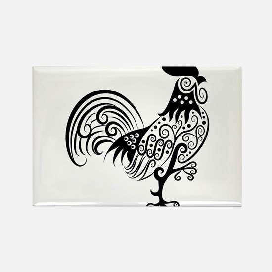 Hand drawn rooster decoration pattern Magnets