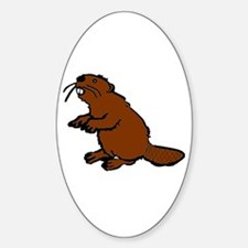 Brown Beaver Oval Decal