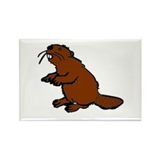 Brown Beaver Rectangle Magnet