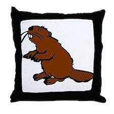Brown Beaver Throw Pillow