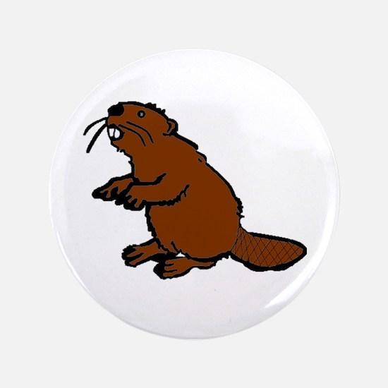 """Brown Beaver 3.5"""" Button"""