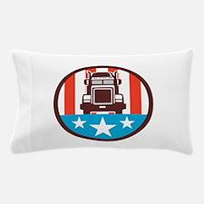 Truck USA Flag Circle Retro Pillow Case