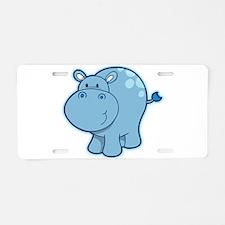 Cute cartoon animal hippo Aluminum License Plate