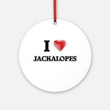 I love Jackalopes Round Ornament
