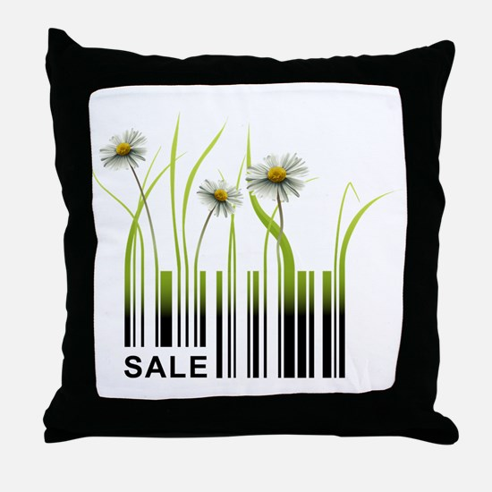 Barcode plant design Throw Pillow