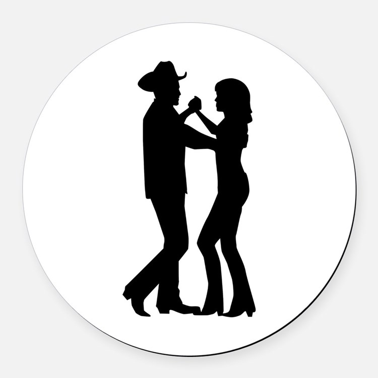 Country dancing Round Car Magnet