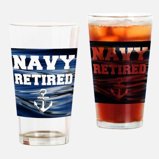 Navy Retired Drinking Glass