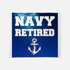 Navy Retired Throw Blanket