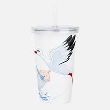 Stork flying with baby Acrylic Double-wall Tumbler