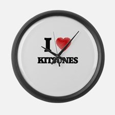 I love Kitsunes Large Wall Clock