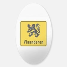 Flanders Road Sign, Belgium Sticker (Oval)
