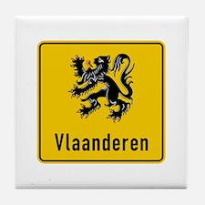 Flanders Road Sign, Belgium Tile Coaster