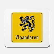 Flanders Road Sign, Belgium Mousepad