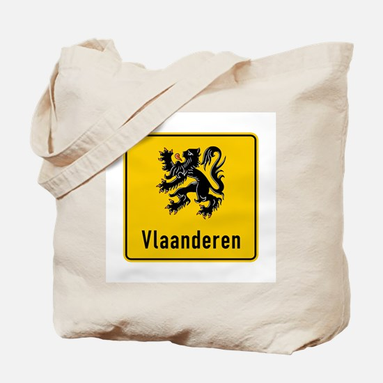 Flanders Road Sign, Belgium Tote Bag