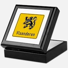 Flanders Road Sign, Belgium Keepsake Box