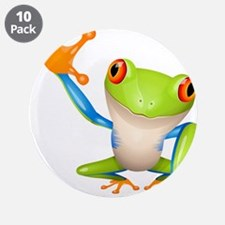 """Cute colorful frog design 3.5"""" Button (10 pack)"""