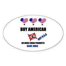 NO MORE CHINA PRODUCTS Oval Decal