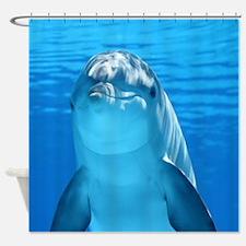 Cute Curious Dolphin Blue Wate Shower Curtain