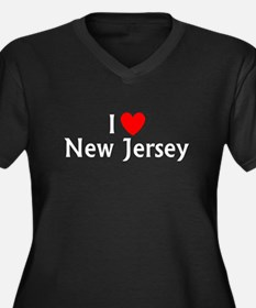 New Jersey Women's Plus Size V-Neck Dark T-Shirt