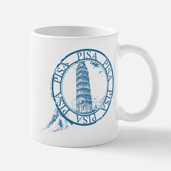 Pisa travel stamp Mugs