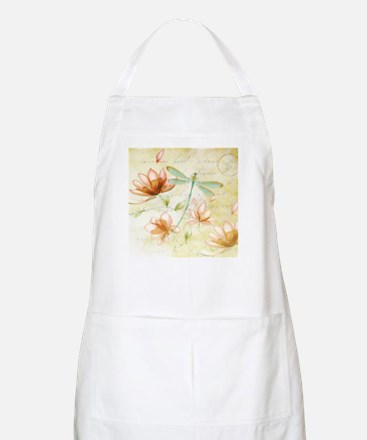 Pink flowers and dragonfly Apron