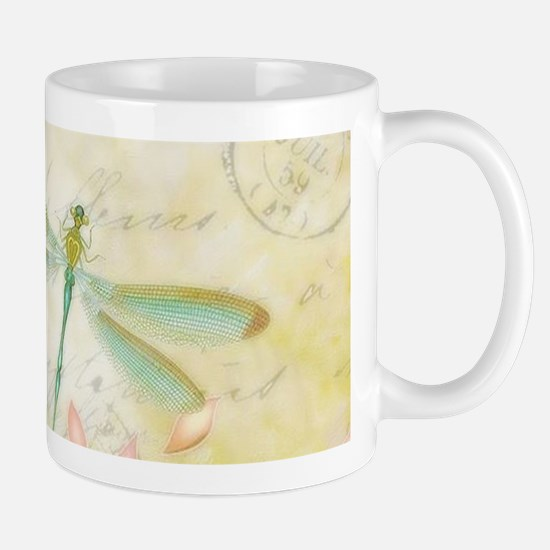 Pink flowers and dragonfly Mugs