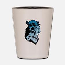 Blue camel head art Shot Glass