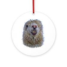Alpaca Closeup Ornament (Round)