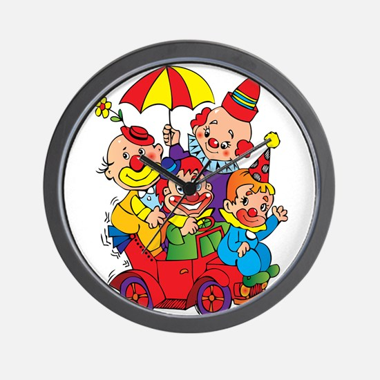 Clown kids in car design Wall Clock