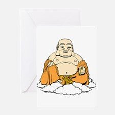 Cartoon laughing Buddha on clouds Greeting Cards