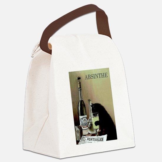 Funny Cat art Canvas Lunch Bag