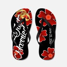 Just Married Floral Custom Flip Flops