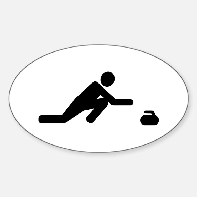 Curling player Sticker (Oval)