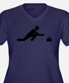 Curling play Women's Plus Size V-Neck Dark T-Shirt