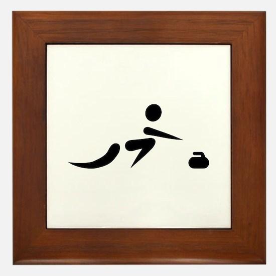 Curling player icon Framed Tile