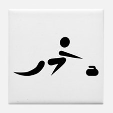 Curling player icon Tile Coaster